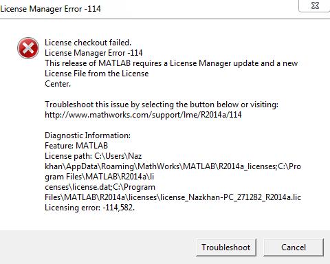 Matlab Error License Manager -114