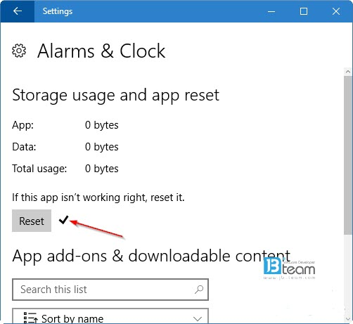 Reset Application in win 10